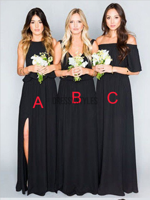 Elegant Black Mismatched A Line Chiffon Long Bridesmaid Dresses, MD495