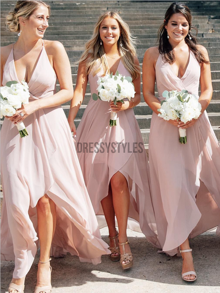 Simple Light Pink Spaghetti Strap V Neck High Low Bridesmaid Dresses, MD516