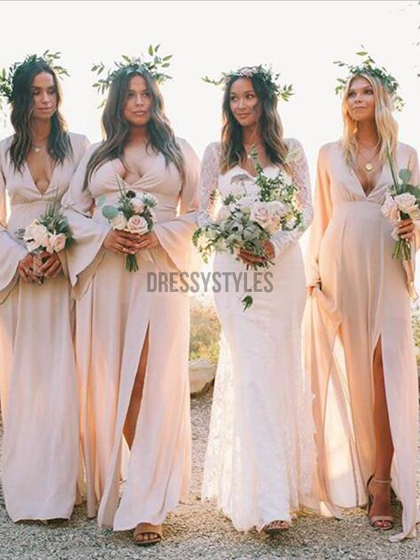 Elegant Long Sleeves Deep V Neck Side Slit Chiffon Long Bridesmaid Dresses, MD528
