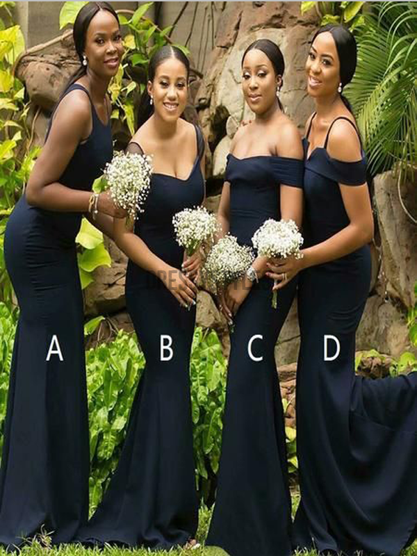 Mismatched Navy Blue Cheap Mermaid Sweep Trailing Long Bridesmaid Dresses, MD490