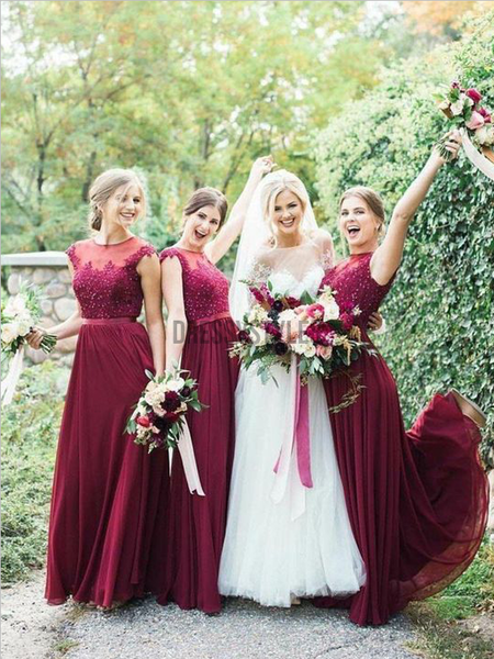 Pretty Lace Top Burgundy A Line Chiffon Short Sleeves Long Bridesmaid Dresses, MD494
