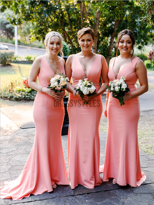 Simple V Neck Sleeveless Mermaid Sweep Trailing Long Bridesmaid Dresses, MD513