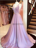 Simple A Line V Neck Sleeveless Open Back Long Prom Dresses ,MD344