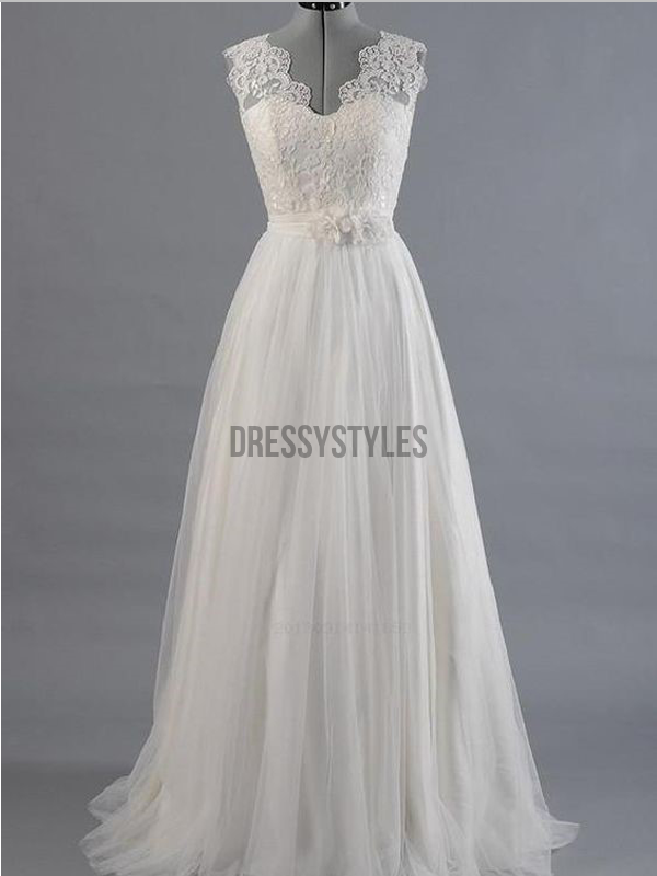 Pretty A Line Lace Top V Neck Sleeveless Long Splendid Wedding Dresses ,MD377