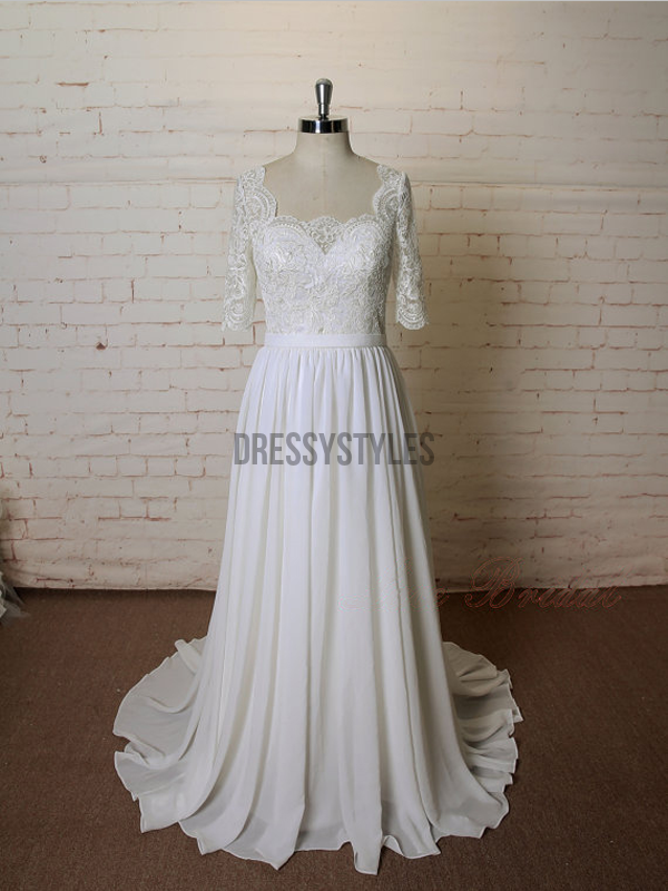 Elegant Square Neckline Lace Top Half Sleeves A Line Long Wedding Dresses, MD436