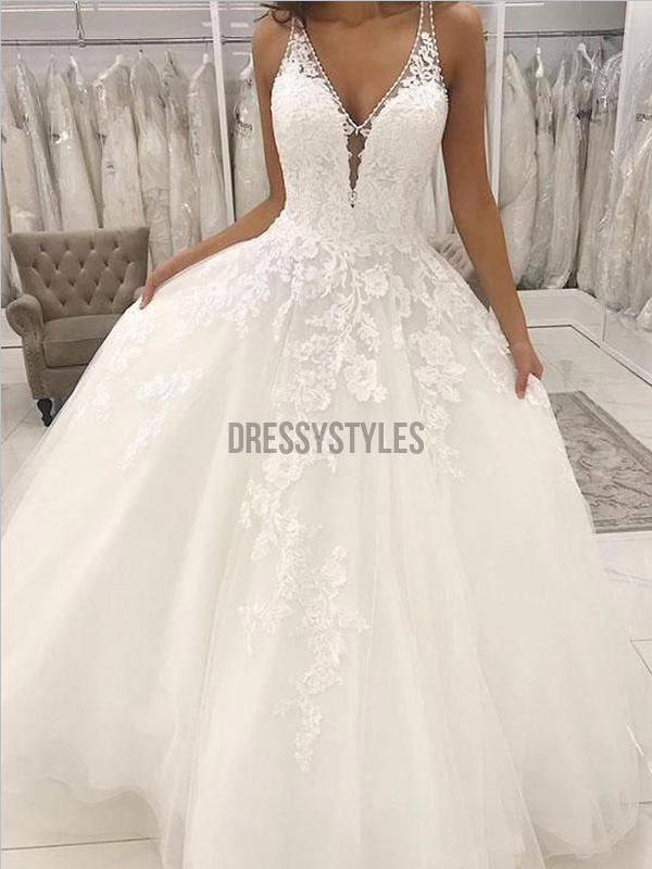 Pretty Spaghetti Straps V Neck A Line Lace Applique Long Wedding Dresses, MD437