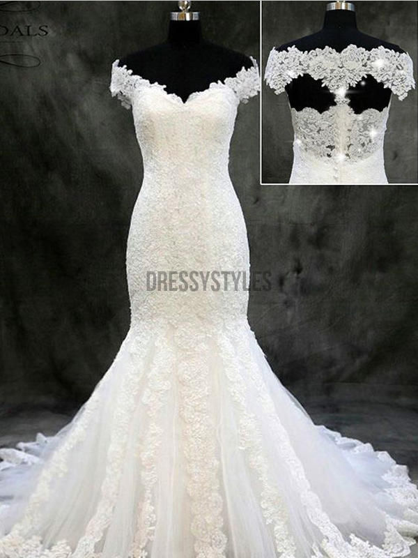 Gorgeous Off The Shoulder Neckline Mermaid With Lace Applique Long Wedding Dresses, MD449