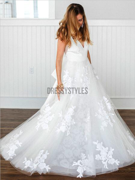 Gorgeous V Neck Open Back Lace Applique A Line Floor Length Wedding Dresses, MD423