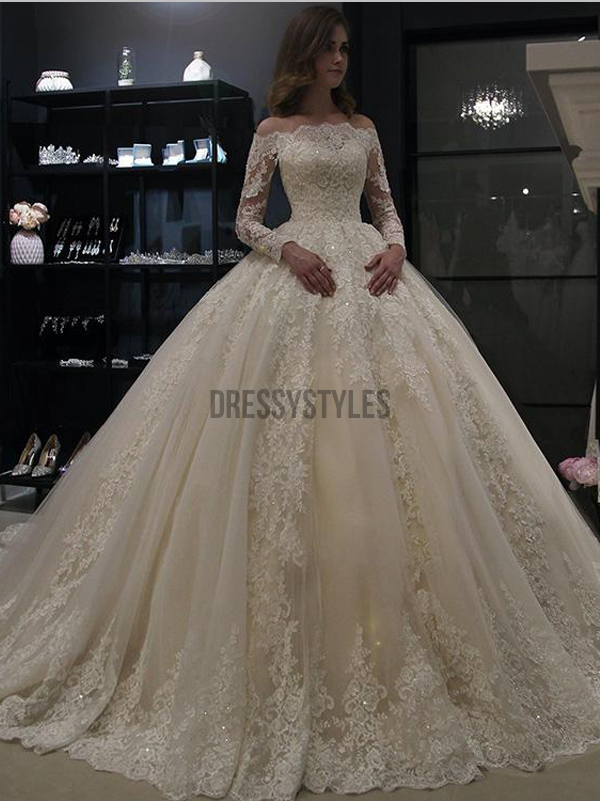 4ae8df6cb771 Gorgeous Off The Shoulder Long Sleeves Ball Gown Lace Wedding Dresses ,MD371