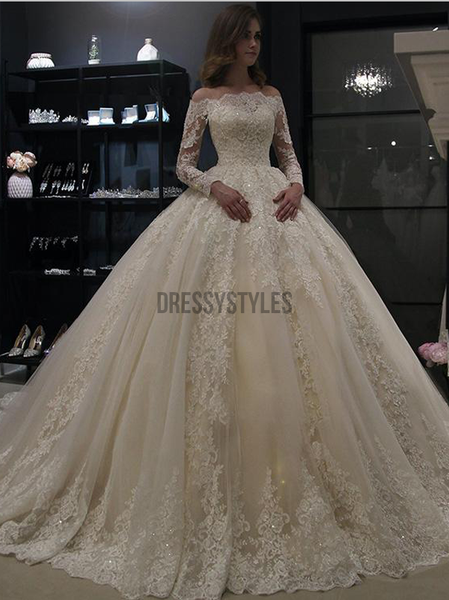 Gorgeous Off The Shoulder Long Sleeves Ball Gown Lace Wedding Dresses ,MD371