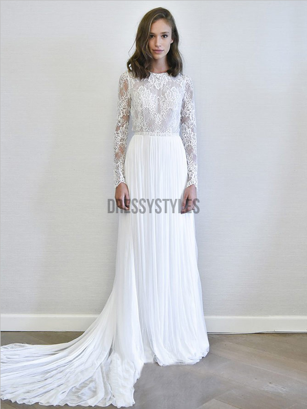 Elegant Long Sleeves Chiffon Lace Sweep Trailing Long Wedding Dresses ,MD358