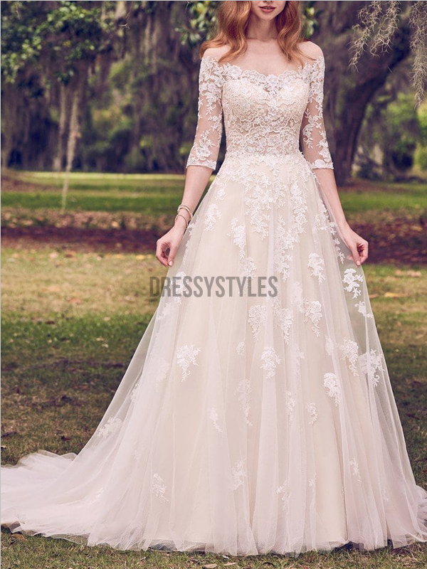 Gorgeous Off The Shoulder Half Sleeves Lace Applique A Line Wedding Dresses, MD422