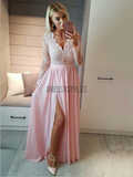 Sexy V Neck Long Sleeves A Line Side Slit Long Prom Dresses ,MD356