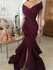 Unique Off The Shoulder V Neck Sweep Trailing Satin Mermaid Long Prom Dresses, MD426