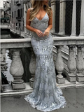 Sexy Spaghetti Straps Sleeveless V Neck Floor Length Long Mermaid Prom Dresses, MD398