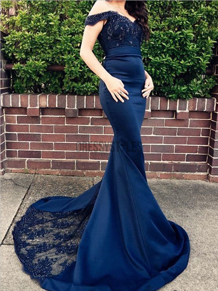 Pretty Off The Shoulder Lace Sweep Trailing Long Mermaid Prom Dresses, MD396