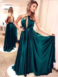 Simple Halter Criss Cross A Line Satin Long Evening Prom Dresses, MD384