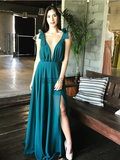 Simple Deep V Neck Side Slit Sleeveless Chiffon Long Prom Dresses ,MD370