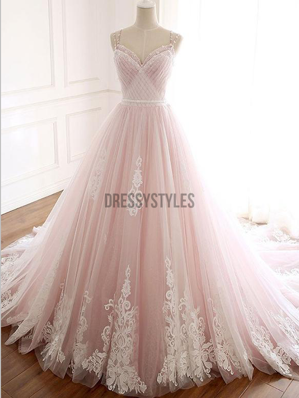 Elegant A Line Spaghetti Straps Sleeveless Long Wedding Dresses ,MD351