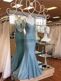 Simple Spaghetti Straps Open Back Sweep Trailing Long Mermaid Prom Dresses, MD395