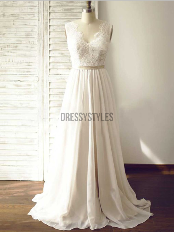 Elegant Lace Top A Line V Neck Sweep Trailing Long Wedding Dresses ,MD378