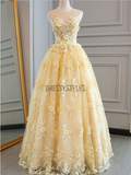 Elegant A Line Sleeveless Long Prom Dress Lace Applique Evening Dresses ,MD355