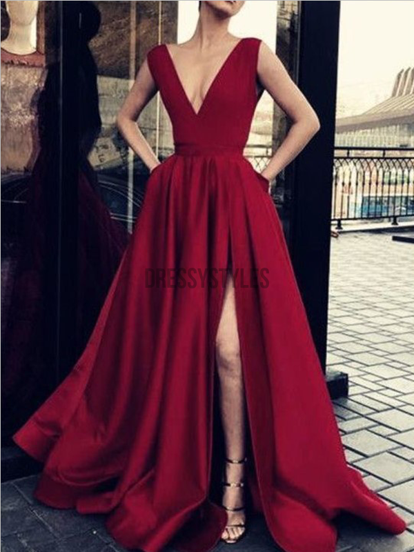 Cheap Burgundy Deep V Neck A Line Sleeveless Side Slit Long Prom Dresses, MD472