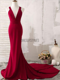 Cheap Burgundy V Neck Open Back Sweet Trailing Mermaid Long Prom Dresses, MD451