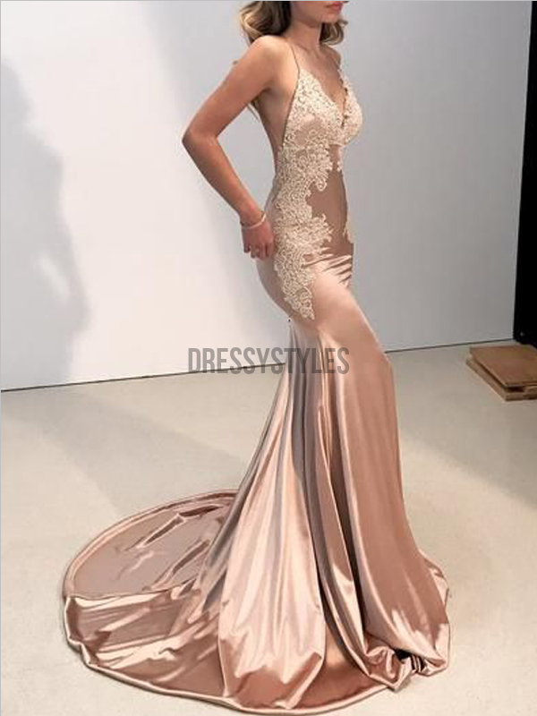 Sexy Champagne Spaghetti Strap V Neck Lace Applique Mermaid Long Prom Dresses, MD455