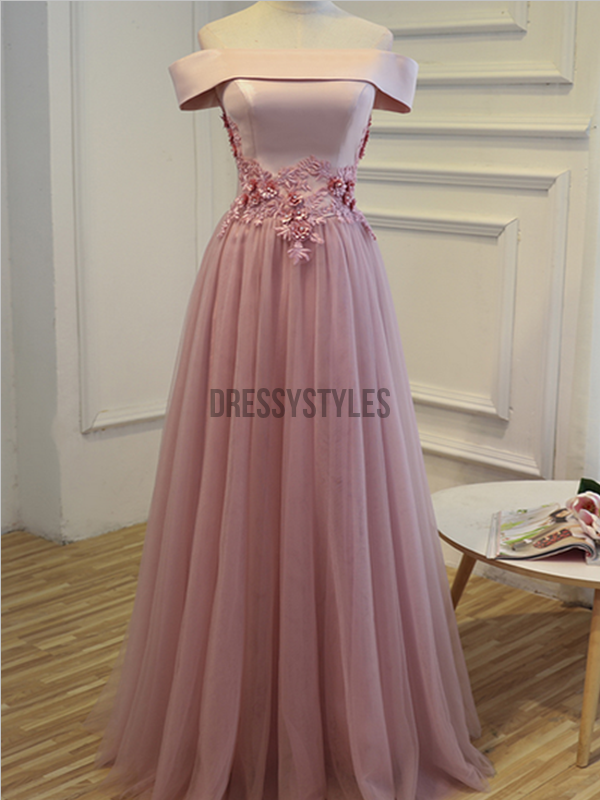 Charming Off The Shoulder Lace Applique A Line Lace Up Long Prom Dresses, MD473