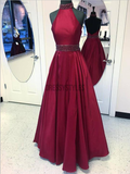 Simple Burgundy Halter Backless Satin A Line Floor Length Long Prom Dresses, MD450