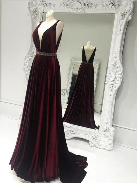 Elegant A Line Deep V Neck Sweep Trailing Backless Burgundy Long Prom Dresses, MD439