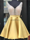 Elagant Yellow Pretty A Line Satin Beaded Short Homecoming Dress, BTW148