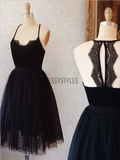 Elegant Spaghetti Strap Backless Tulle A Line Short Homecoming Dress, BTW147
