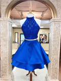 Pretty Halter A Line Tulle Satin With Beading Mini Short Homecoming Dress, BTW135