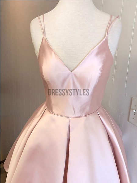 Simple V Neck Spaghetti Strap Pink A Line Mini Short Homecoming Dress, BTW138