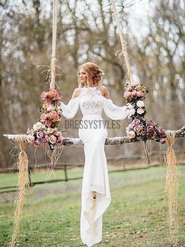 Long Sleeves Ivory Lace Top Chiffon Romantic Wedding dress RPD2101