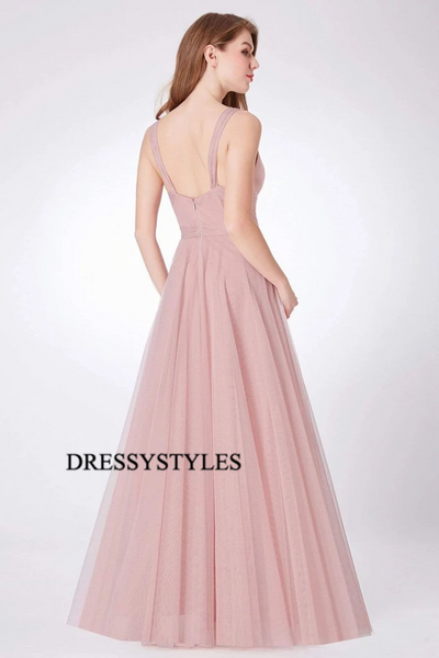 Straps Blush Pink Bridesmaid Dresses, Wedding Party Dresses, MD587