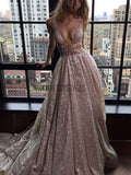 Sexy Deep V Neck Sparkly Popular Evening Formal Long Prom Dress DPB146