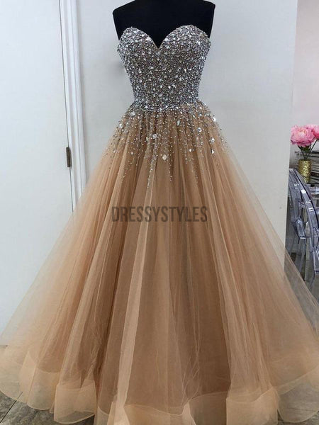 Shine Silver Beaded Sweetheart Tulle Long Prom Dresses DPB140
