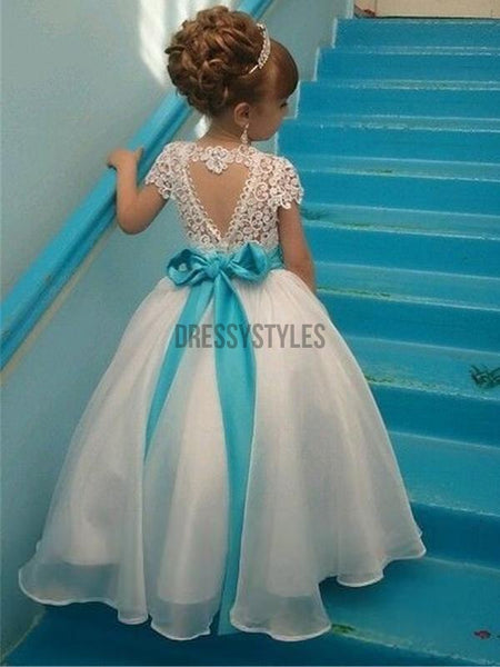Short Sleeves Lace Cute Flower Girl Dresses GTE2113