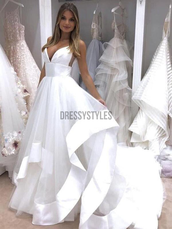 Simple A-line Spaghetti Strap Cheap Beach Long Prom Wedding Dress RPD2105