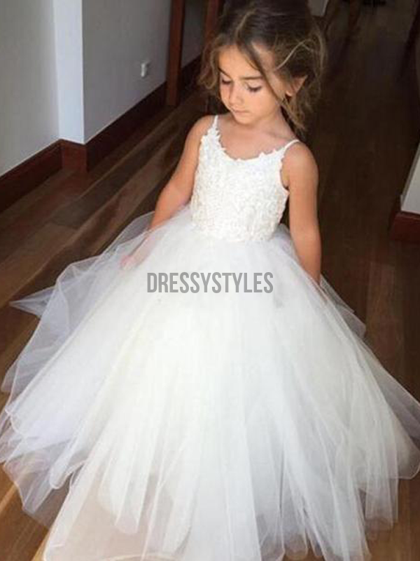4eaa787a1f0 Spaghetti Strap Lace Top Ivory Tulle Flower Girl Dresses GTE2122