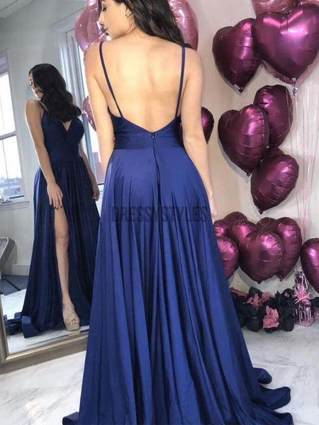 Spaghetti Strap A Line Side Slit Simple Long Bridesmaid Prom Dresses DPB3109