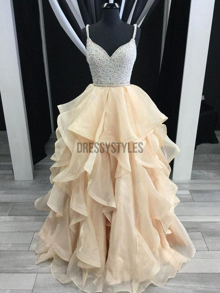 Spaghetti Strap Beaded Top Organza Ruffle Skirt Prom Dresses DPB143