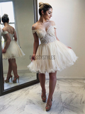 Pretty Off The Shoulder Lace Top Ruffles A Line Short Homecoming Dress, BTW170