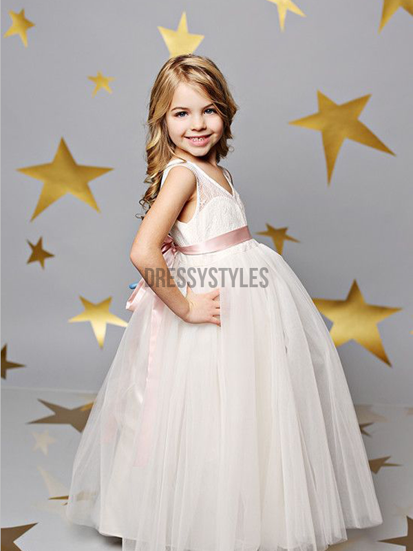 73afd5a90 Cute A Line Backless Floor Length Lace Top Tulle Long Flower Girl Dress ,  GTE2127