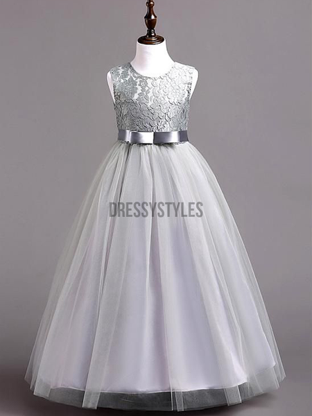 Cute Lace Top A Line Sleeveless Long Flower Girl Dress , GTE2126