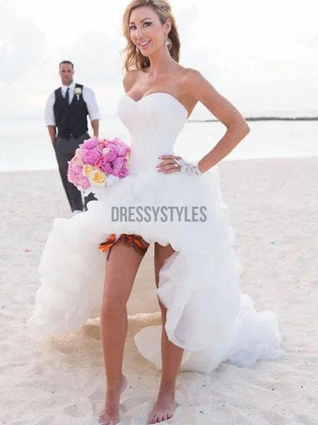 Vintage Sweetheart High Low Beach Strapless Wedding Dresses RPD2109