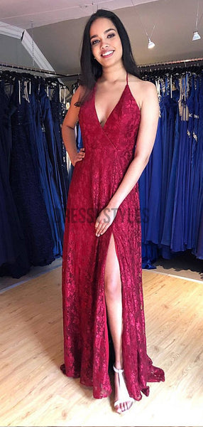 Pretty Halter Burgundy V Neck Backless Side Slit Lace Long Prom Dresses, MD453